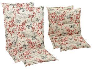 GO-DE Textil Sessel-Auflage Linien Look Blumen 2er Set