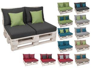 GO-DE Textil Lounge Paletten-Kissen Bundle (2er Set + 2 Einzelkissen)