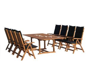 Grasekamp Garten Möbelgruppe Cuba 17tlg Premium  Schwarz mit ausziehbaren Tisch