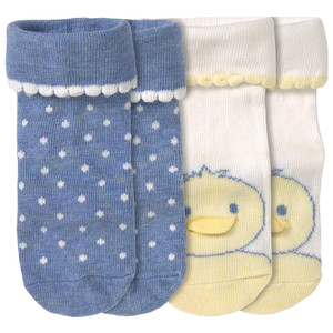 2 Paar Newborn Socken mit Küken-Motiv
