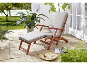 Grasekamp Deckchair Santos mit Auflage Sand  Gartenliege Liegestuhl Sonnenliege  Relaxliege Steamer Chair