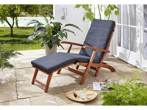 Grasekamp Deckchair Santos mit Auflage Anthrazit  Gartenliege Liegestuhl Sonnenliege  Relaxliege Steamer Chair