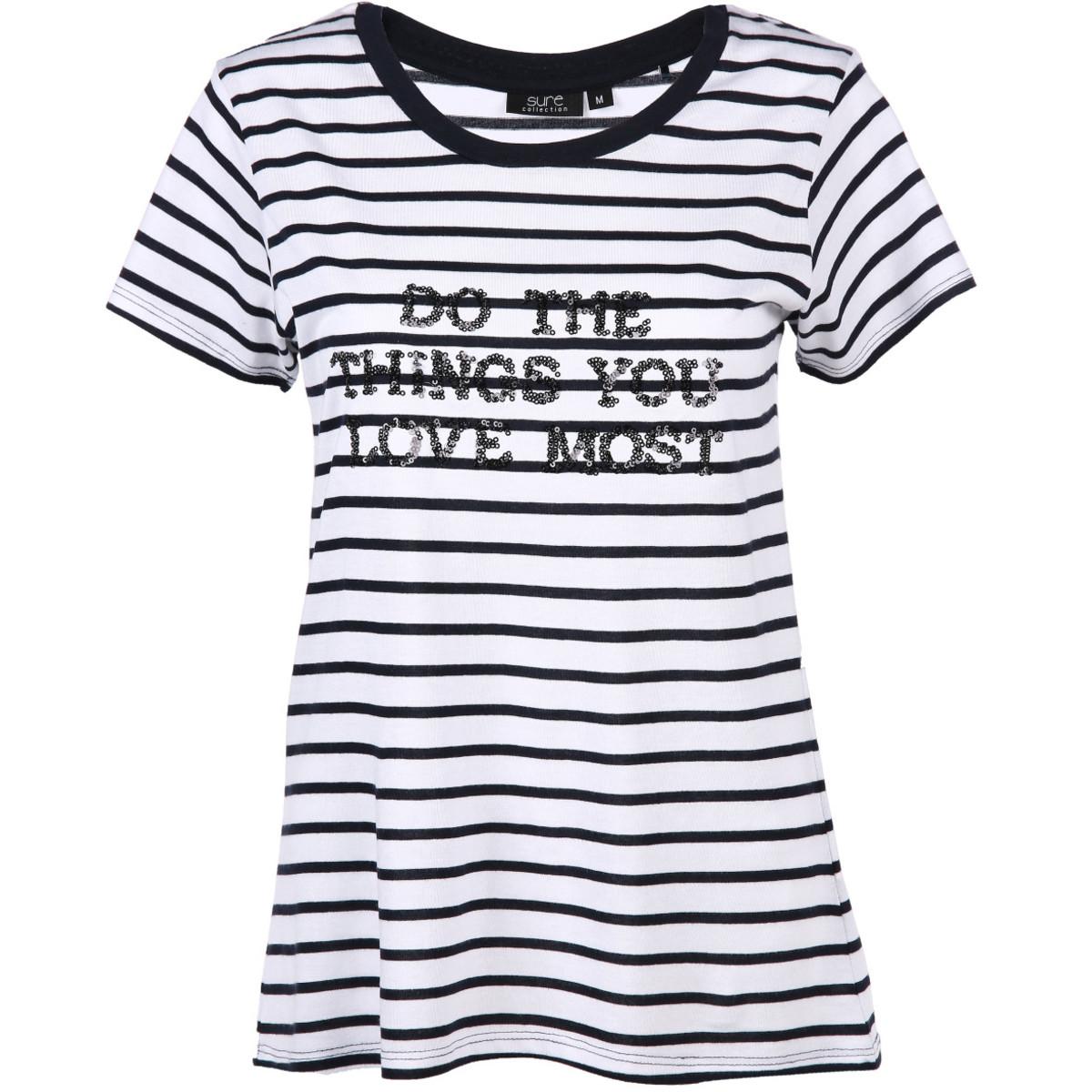 Bild 1 von Damen Shirt mit Streifen und Pailletten