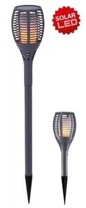 LED Solar Fackel mit Flammeneffekt ,  IP 44, grau