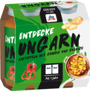 Alete Kindermenü Entdecke Ungarn Kartoffeln mit Gemüse und Gulasch ab 1 Jahr, 2x250g