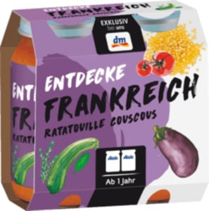 Alete Kindermenü Entdecke Frankreich Ratatouille Couscous ab 1 Jahr, 2x250g