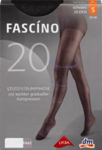 FASCÍNO Stütz-Strumpfhose schwarz 20 DEN, Gr. 42/44