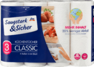 Saugstark&Sicher Küchentücher 3-lagig (4 x 64 Blatt)