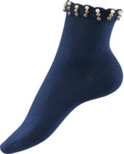 FASCÍNO Socken mit Perlenbesatz marine Gr. 35-38