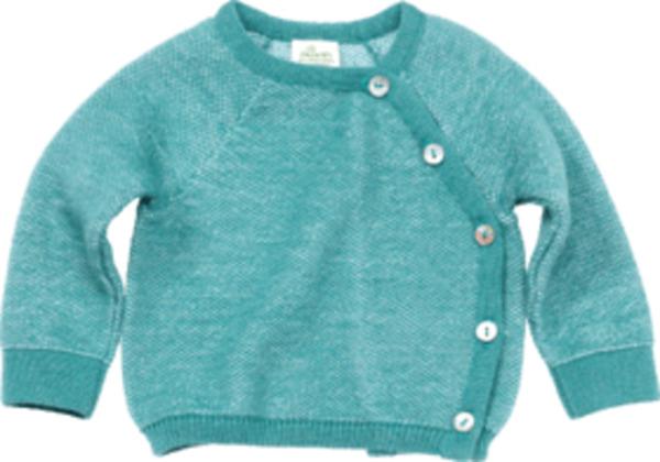 ALANA Baby-Wickelpullover, Gr. 68, in Bio-Baumwolle und Bio-Wolle, mint, für Mädchen und Jungen
