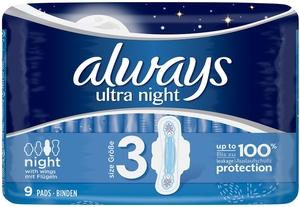 Always Binden Ultra Night mit Flügeln Größe 3 9 Stk