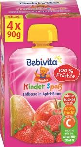 Bebivita Kinder Spaß Erdbeere in Apfel-Birne ab 1 Jahr 4x 90 g