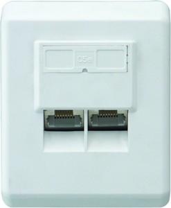 SCHWAIGER - Netzwerk Anschlussdose, CAT 6 ,  TDA1628 532 - weiß, Aufputz, 2x RJ45