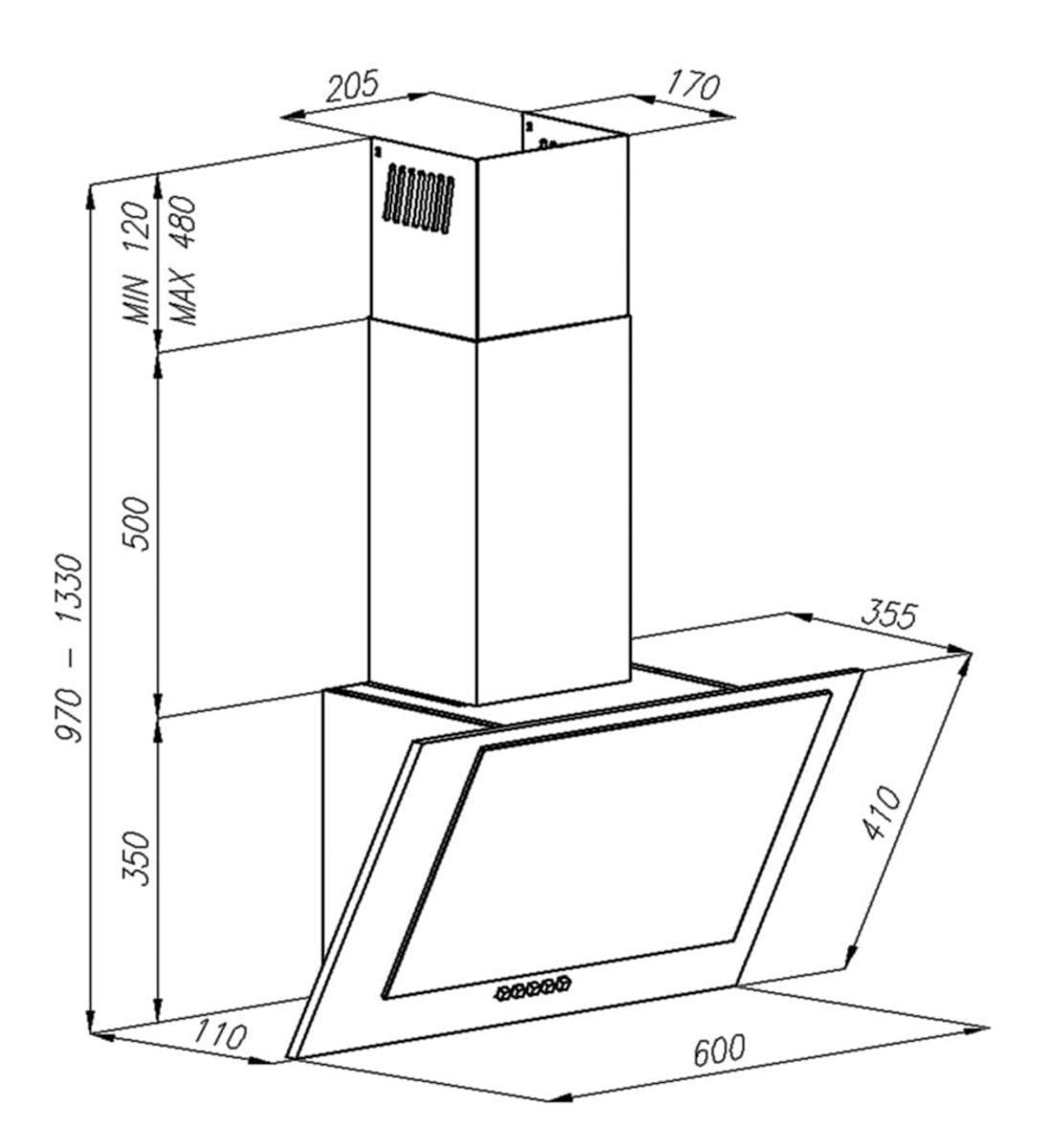 Bild 2 von Amica Design Kaminhaube  60 cm, diagonaler Glasschirm, Schwarz, KH17118S