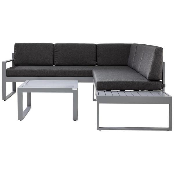 Ambia Garden Loungegarnitur Webstoff Aluminium Grau Grau