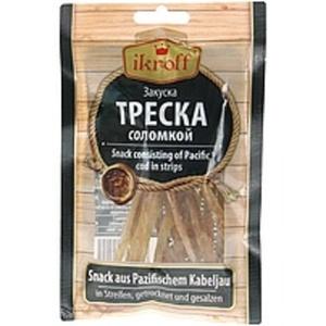 Snack aus Pazifischem Kabelajau in Streifen, getrocknet und ...