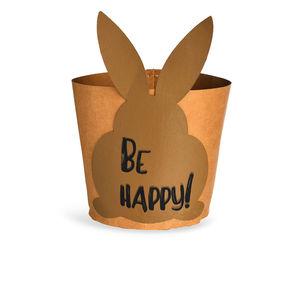 Osternest Be Happy, 12x12x17cm, braun