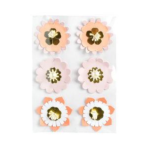 Sticker Blüten, 6 Stück, rosa