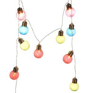 Lichterkette Glühbirnen Outdoor, 10LED, Batterien, Timerfunktion, bunt