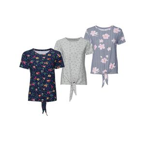 Laura Torelli Young Fashion Damen-T-Shirt mit Knoten am Saum