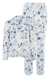Blaues Pyjamaset mit Blumenmuster