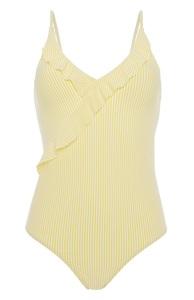 Gelb gestreifter Badeanzug