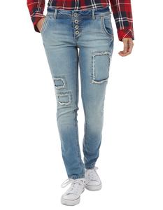 Damen Stone Washed Slim Fit Jeans im Destroyed Look