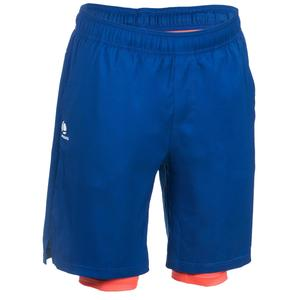 Tennisshorts warm 500 Herren marineblau/orange