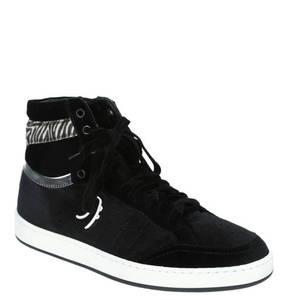 Primabase             Sneaker, Samt, Schnürung, Animal-Detail, gepolsterter Schaftrand