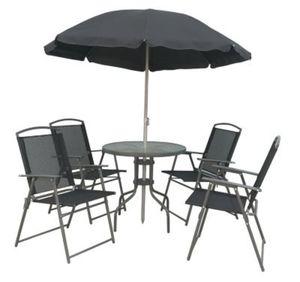 VCM 6-teiliges Gartenmöbel-Set (Tisch, Stühle, Schirm) VCM Metallsitzgruppe