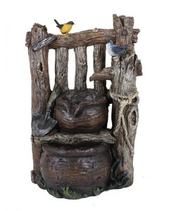 Harms Brunnen VARESE in Holzoptik mit 2-fach Kaskade