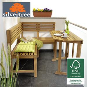 Holz-Balkon-Set Mathilda Eukalyptus-Hartholz, FSC®-zertifiziert (aus verantwortungsvoller Waldwirtschaft), bestehend aus: - 1 x Tisch, H 75 x B 100 x T 50 cm - 1 x Eckteil, 50 x 50 cm - 1 x Bank, 10