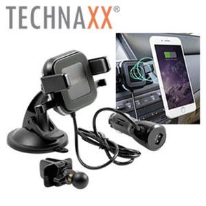 Wireless Car Charger TE17 · Induktions-Ladetechnologie · Überspannungsschutz · Saugnapf- / Belüftungshalterung · verstellbare Klemmhalterung