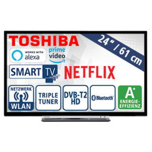 "24""-LED-HD-TV 24W3863DA · Auflösung 1.366 x 768 Pixel · HbbTV · 2 HDMI-Anschlüsse, USB-/CI+-Anschluss · Stand-by: 0,5 Watt, Betrieb 19 Watt · Maße: H 33,6 x B 55,4 x T 8,5 cm · Energie-Effiz"