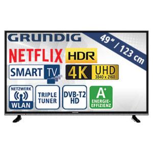 "49""-Ultra-HD-LED-TV 49 VLX 600 · HbbTV · 3 HDMI-/2 USB-Anschlüsse, CI+ · Stand-by: 0,45 Watt, Betrieb: 67,1 Watt · Maße: H 64,9 x B 110,8 x T 8,5 cm · Energie-Effizienz A+ (Spektrum A++ bis E)"