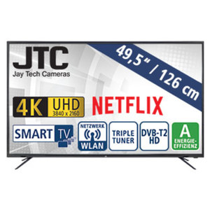 "49,5""-Ultra-HD-LED-TV Atlantis 5.0N · 3 HDMI-/2 USB-Anschlüsse, CI+ · Stand-by: 0,5 Watt, Betrieb: 86 Watt · Maße: H 65,9 x B 113,0 x T 9,7 cm · Energie-Effizienz A (Spektrum A++ bis E)"