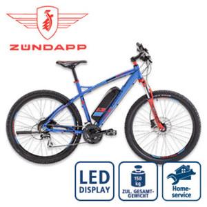 Alu-E-Mountainbike S100 - Fahrunterstützung bis ca. 25 km/h - Blaupunkt Li-Ionen-Akku 36 V/10,4 Ah, 374 Wh - Reichweite: bis ca. 100 km (je nach Fahrweise) - Blaupunkt wartungsfreier Hinterradmotor,
