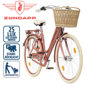 Citybike Roosendaal - Shimano-Nexus-3-Gang-Nabenschaltung, Shimano Drehgriffschalter - Alu-V-Bremsen, Rücktrittbremse - Rahmenhöhe: 50 cm (28er) - Lenkerkorb