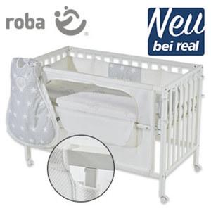 """Room Bed """"Safe asleep"""" inkl. Schlafsack Easy Air in Gr. 62/68 Holz, weiß lackiert, höhenverstellbar, inkl. gelochter Matratze mit Jaquard-Bezug, Nestchen """"Air"""" und Schlafsack Easy Air in Gr"""