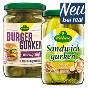 Kühne Burger, Sandwich oder Salatgurken jedes 370-ml-Glas/180/185 g Abtropfgewicht