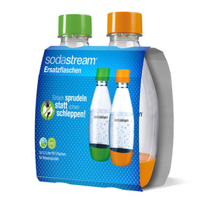 Sodastream PET Flasche 0,5 Liter Duo in Grün/Orange 2er-Set