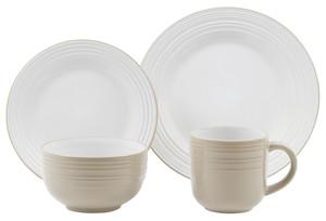 Villa Noblesse Frühstücks-Set 16-teilig aus Steinzeug, für 4 Personen, Farbe Weiß/Braun