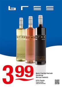 Bree Merlot, Pinot Noir Rosé oder Chardonnay Wein aus Frankreich