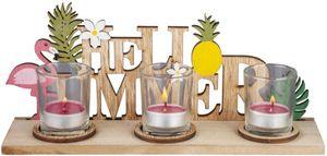 Teelichthalter - aus Holz - 30 x 8 x 13 cm