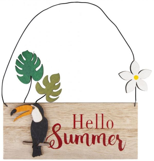 Dekohänger - Hello Summer - aus Holz - 18 x 1,5 x 21 cm