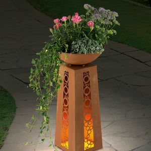 EASYmaxx LED-Dekosäule Flamme Rost-Optik 69cm 4,5V