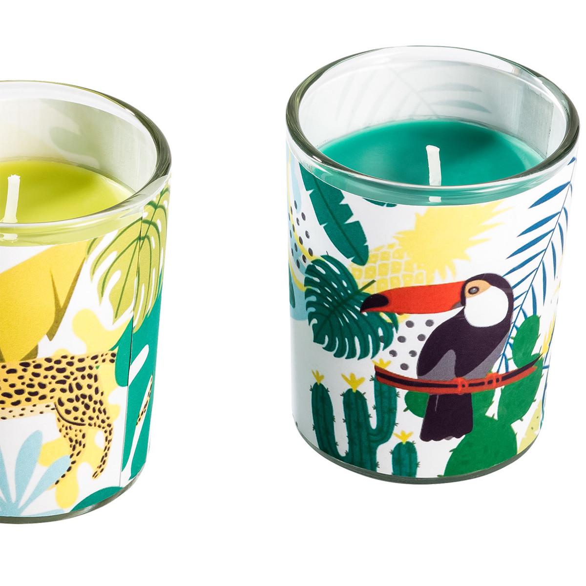 Bild 2 von 3 Kerzen im Glas mit Dschungel-Motiven
