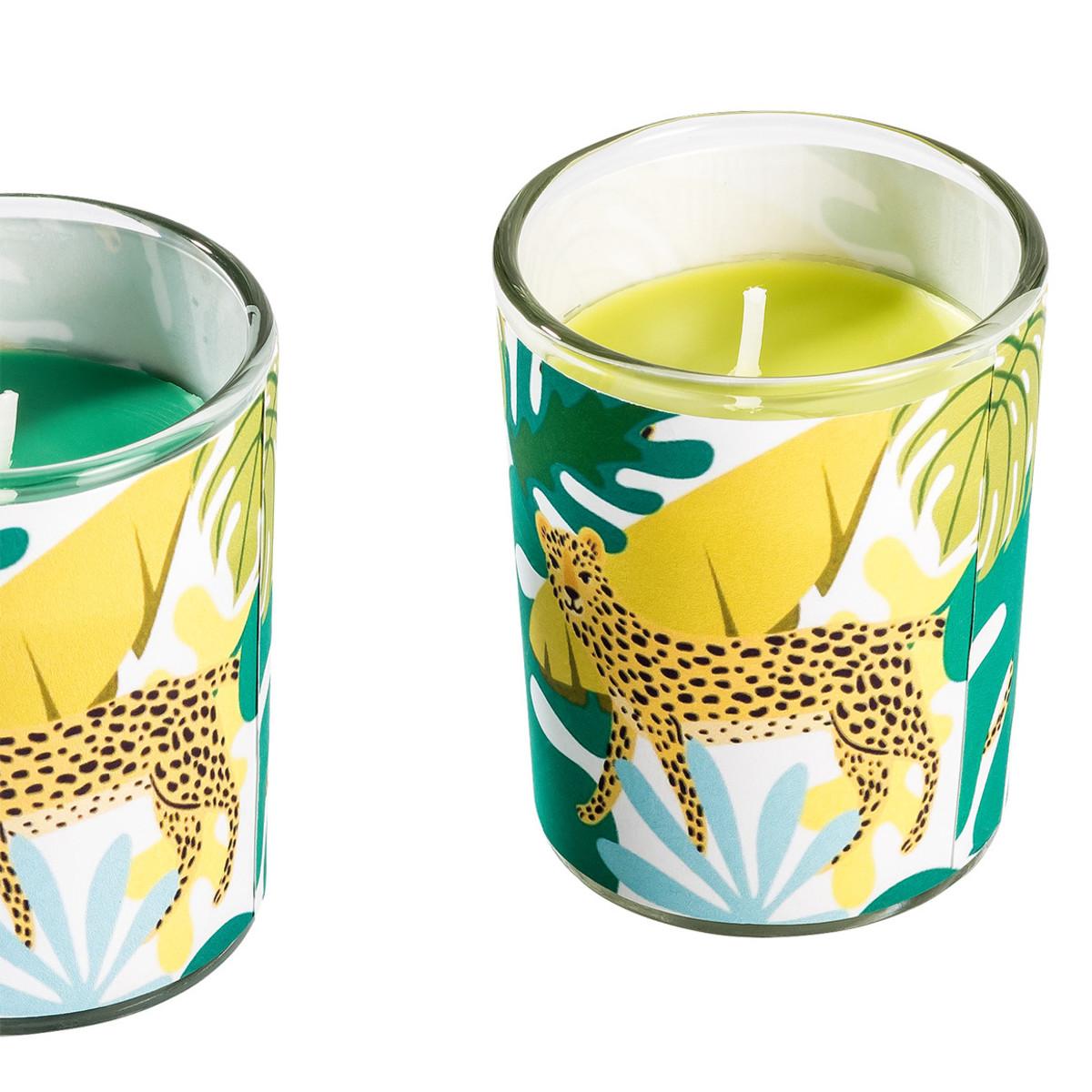Bild 3 von 3 Kerzen im Glas mit Dschungel-Motiven