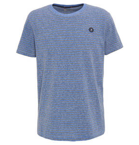 JACK & JONES             T-Shirt, gestreift, Patch, Rippblende, Used-Look