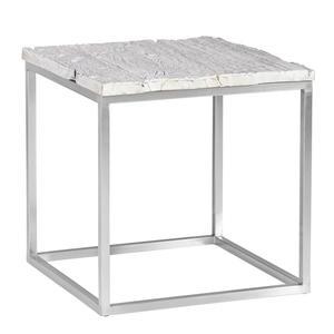 Ambia Home BEISTELLTISCH Altholz vollmassiv rechteckig Silber, Weiß